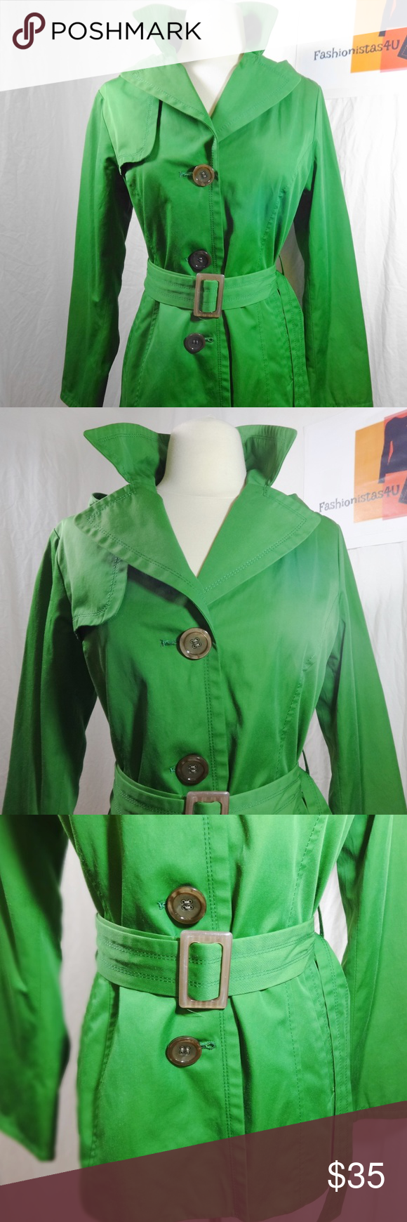 ELLEN TRACY Green Hooded Spring Coat Size XS Gently owned