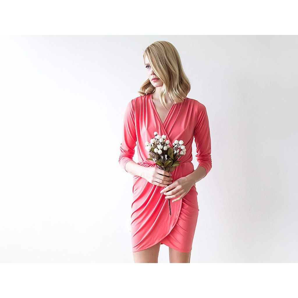 Coral long sleeves mini wrap dress products pinterest