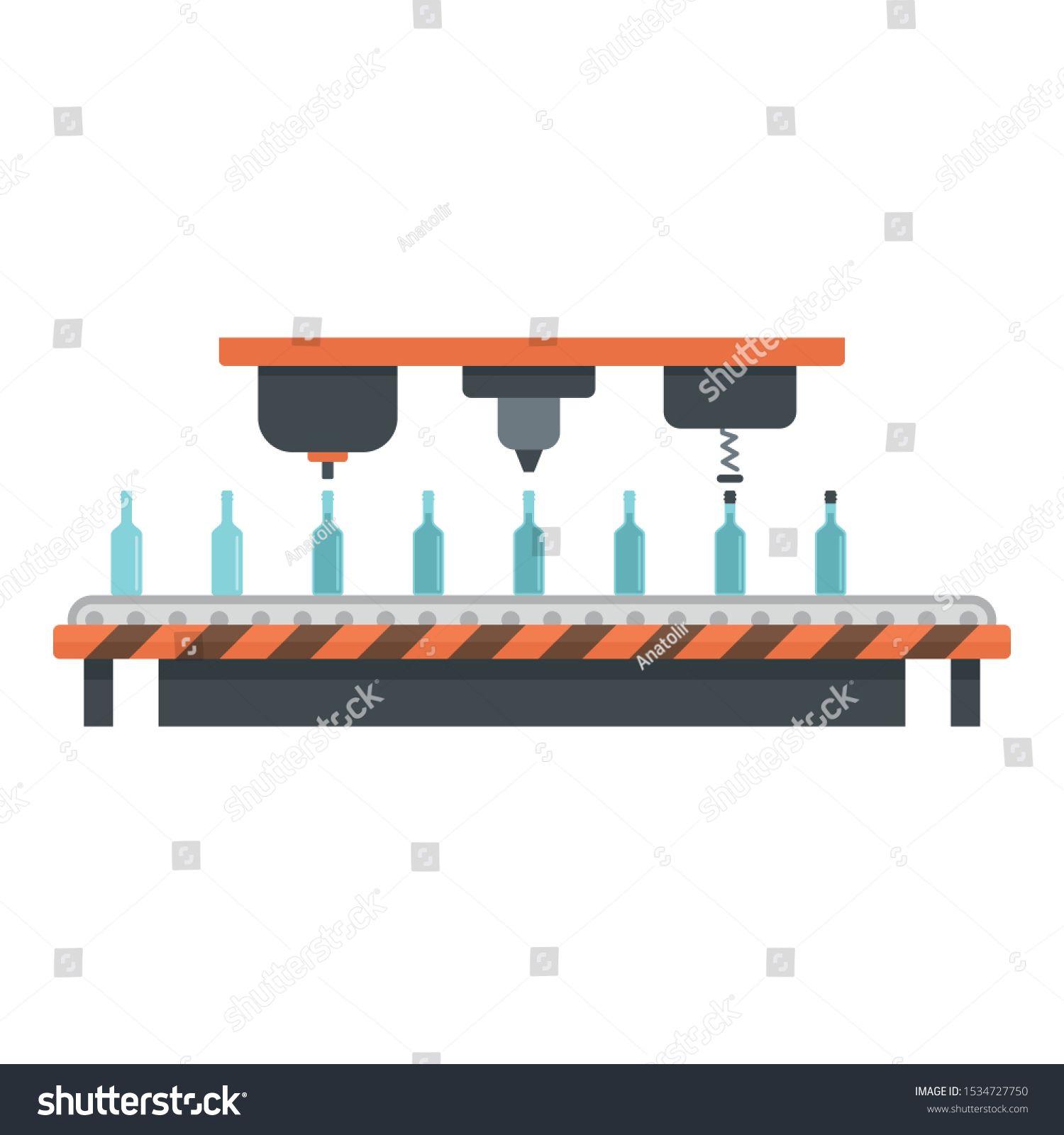 Bottle drink assembly line icon Flat illustration of bottle drink assembly line vector icon for web design