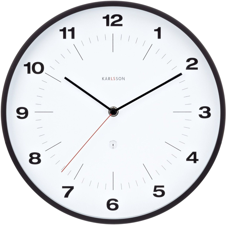 White Kitchen Wall Clocks Karlsson Wall Clock Neverlateagain Numbers Steel White Amazonco