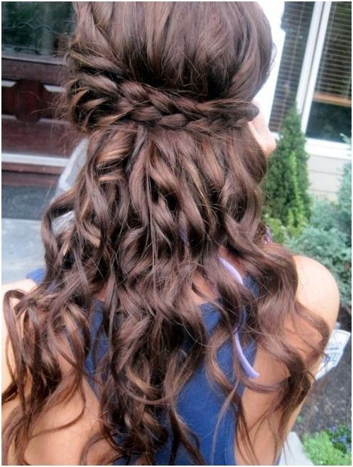 Loose Curls With Braid Long Curly Hairstyles Pinterest Long