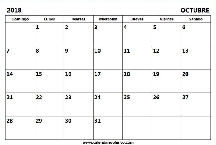 Calendario En Blanco.Calendario En Blanco Octubre 2018 Actividades De Cierre Visual