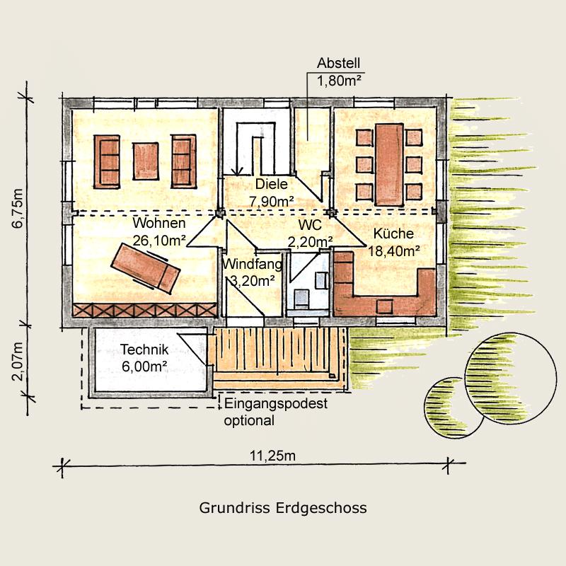 Holzhaus Beispielhäuser Holzhaus, Grundriss
