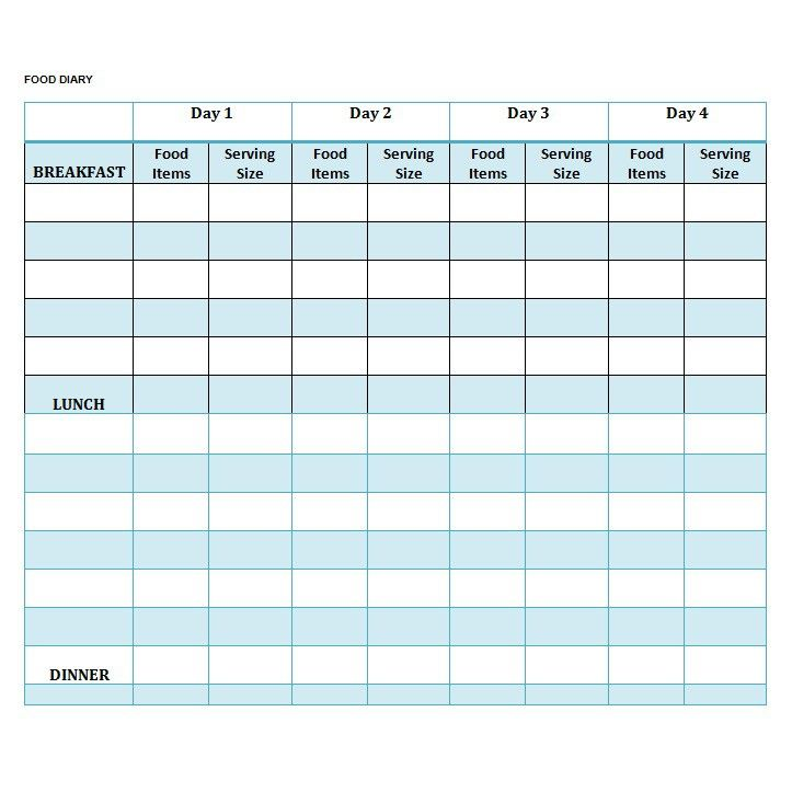 daily food diary template