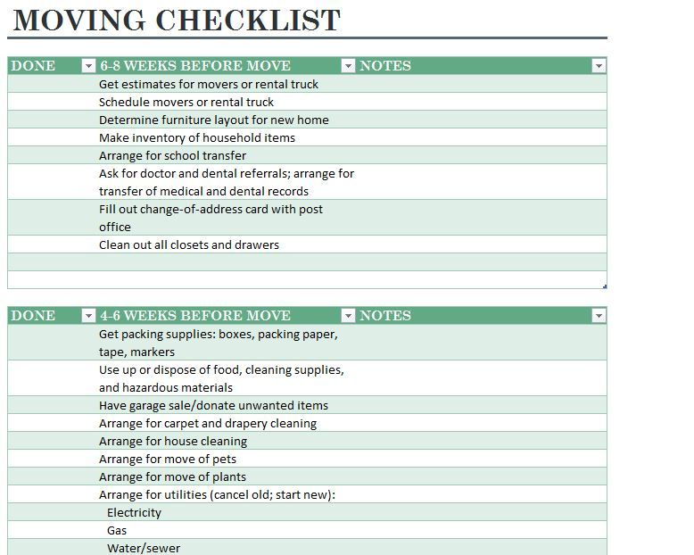 Moving Checklist Template - Detailed Moving Checklist Printable