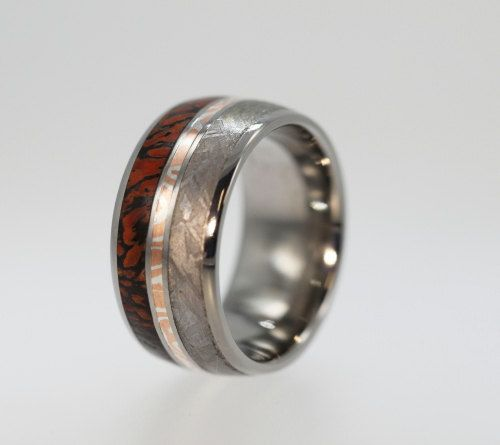 super cool ring made of dinosaur bone with gibeon meteorite and mokume gane inlay maybe - Dinosaur Bone Wedding Ring