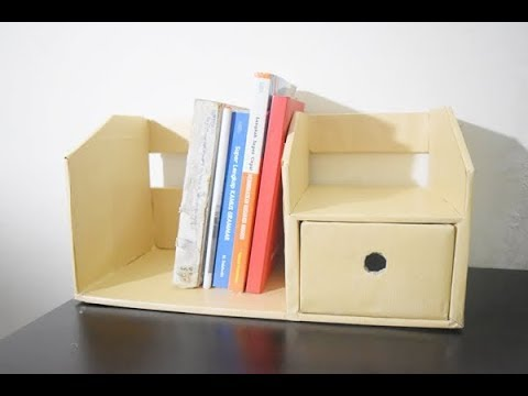 How to make bookshelf from cardboard / DIY rak buku + Laci