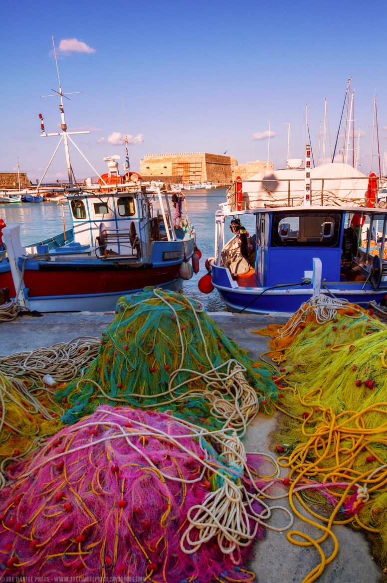 Colourful Nets of Heraklio Harbour, Crete, Greece