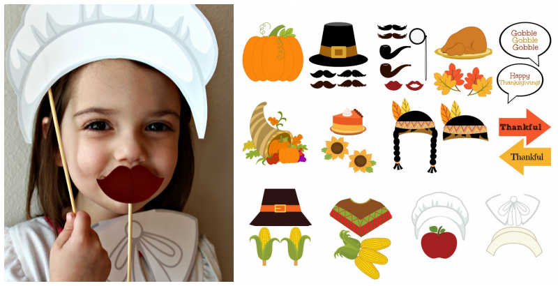45 Piece Thanksgiving Photo Booth Props