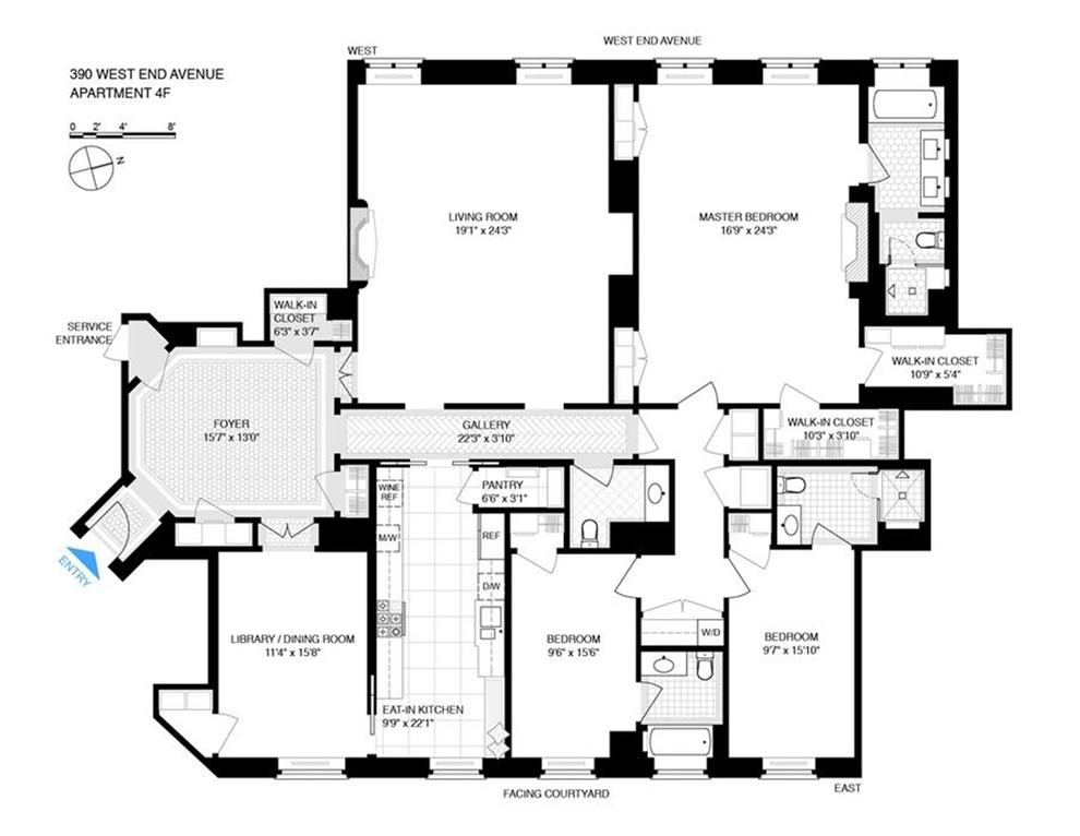390 West End Avenue 4f New York Ny 10024 Sales Floorplans Property Records Realtyhop Floor Plans Property Records Apartment Floor Plans