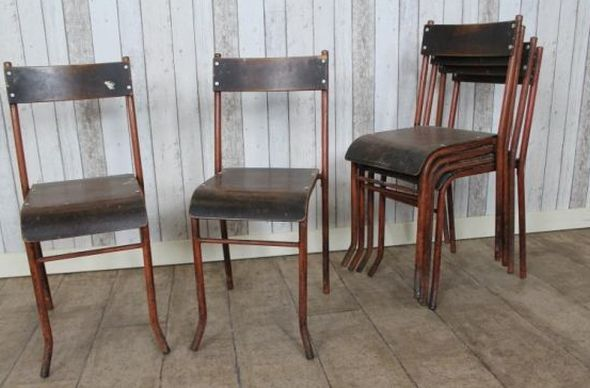 Extremely Early Circa 1920s Metal Stacking Chairs Retro Industrial Style Stacking  Chairs Have A Frame Which Is Very Rustic, And Steam Bent Plywood Seats.