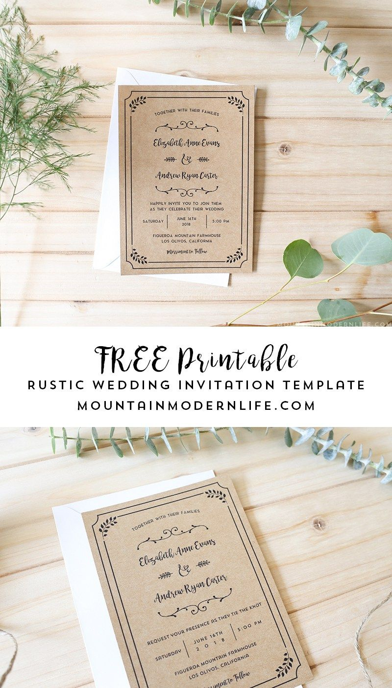 planning a rustic wedding download this free printable wedding invitation template add your personalized details and print as many copies as you need
