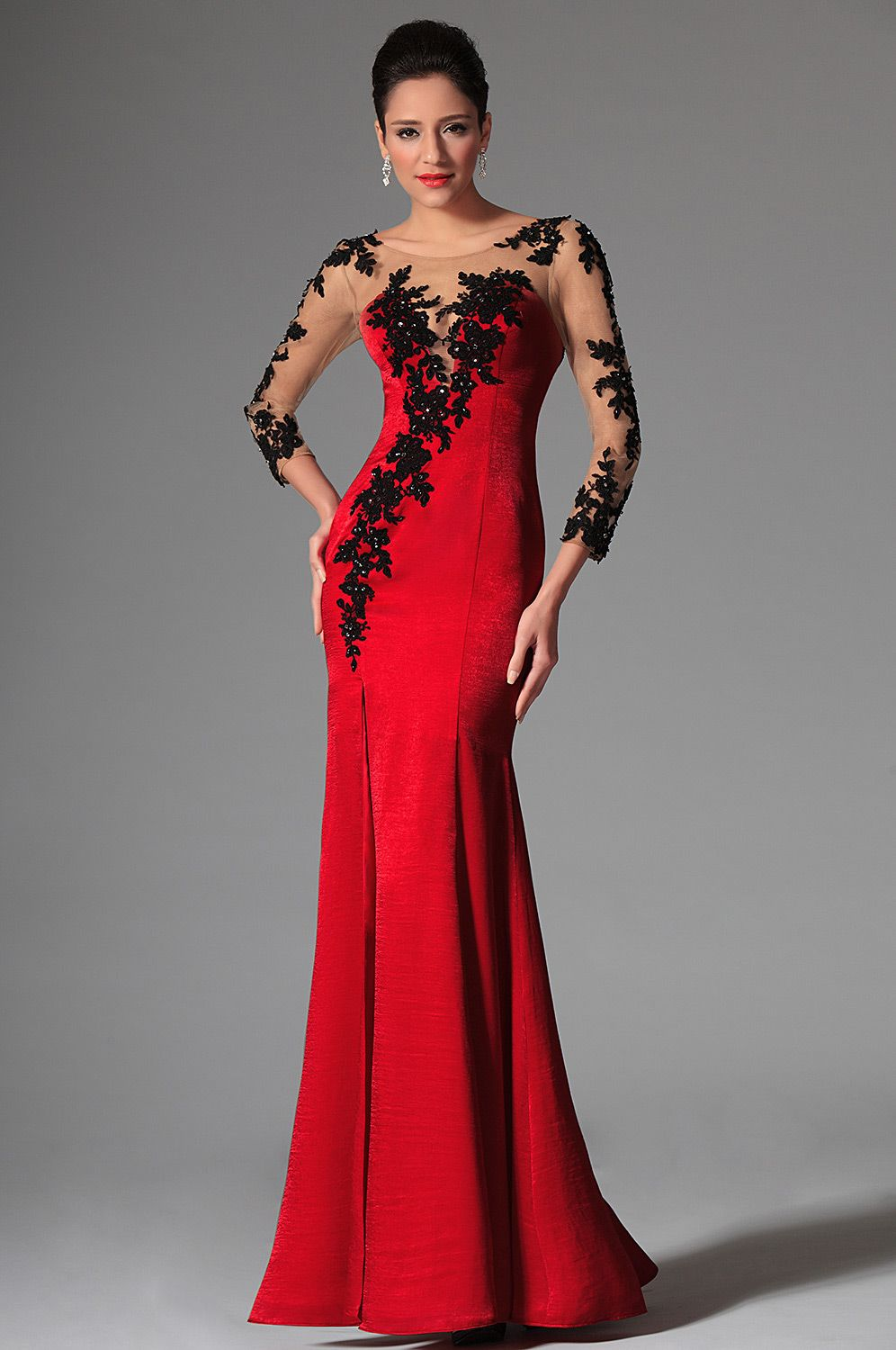 Red Sheer Top Lace Long Sleeves Evening Prom Gown (02146302 ...