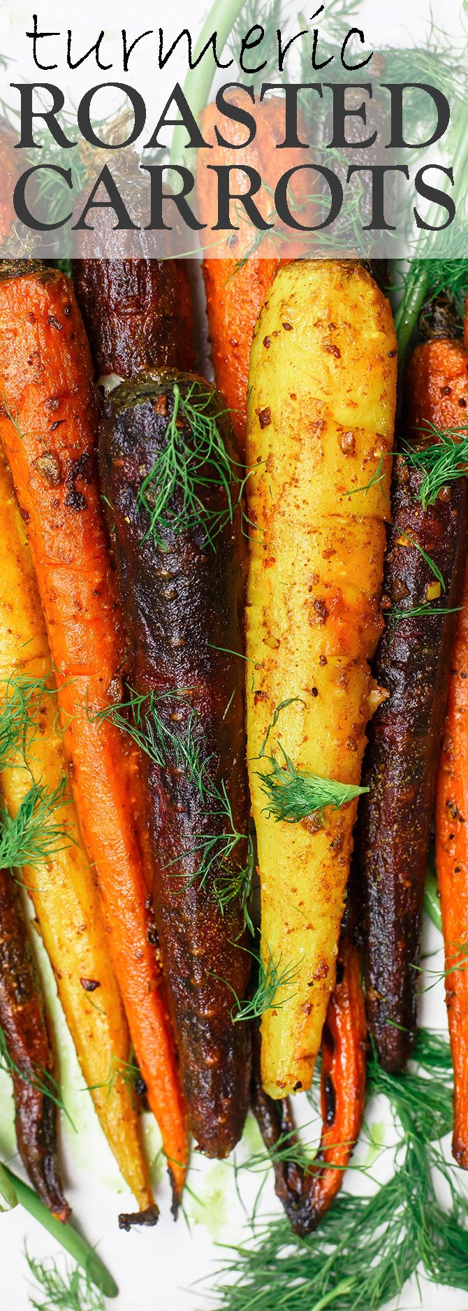 Turmeric Roasted Carrots Recipe   The Mediterranean Dish. A simple side dish of whole roasted carrots prepared the Mediterranean way w/ olive oil, lime juice, garlic and spices like turmeric and cinnamon. A healthy and easy side dish that wins every time! See it on TheMediterraneanDish.com