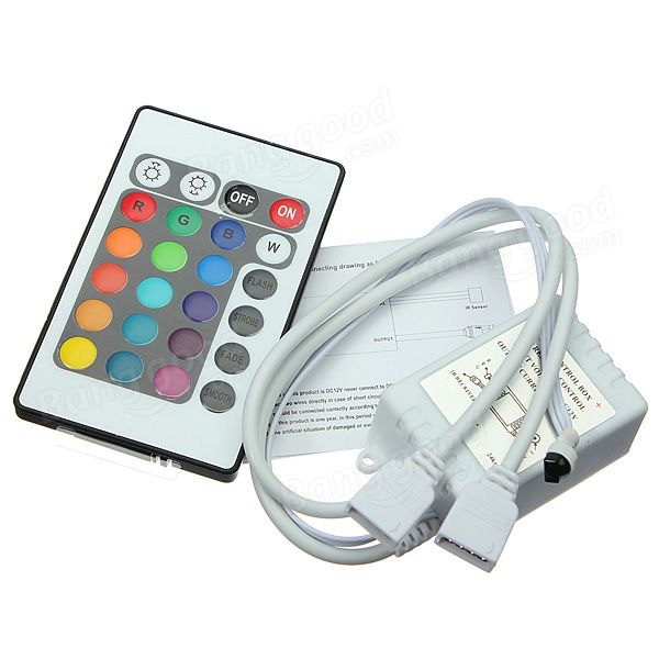 Led Light Strips With Remote 24 Key Ir Remote Controller For Dc 12V Rgb Led Light Strip  Remote