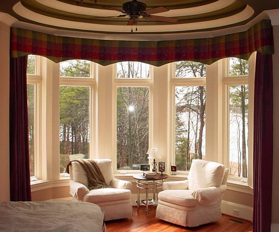 Red Maroon Curtain In Cream Colored Bay Window