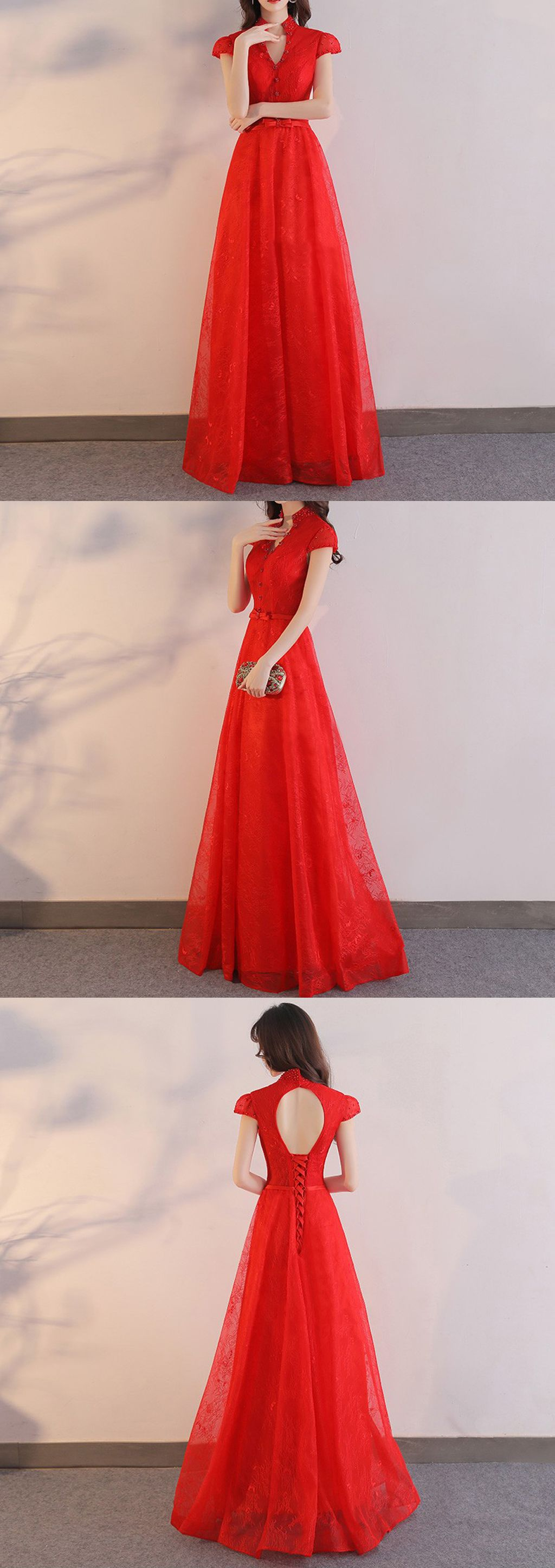 Elegant cap sleeve unique stand collar red lace key hole back long