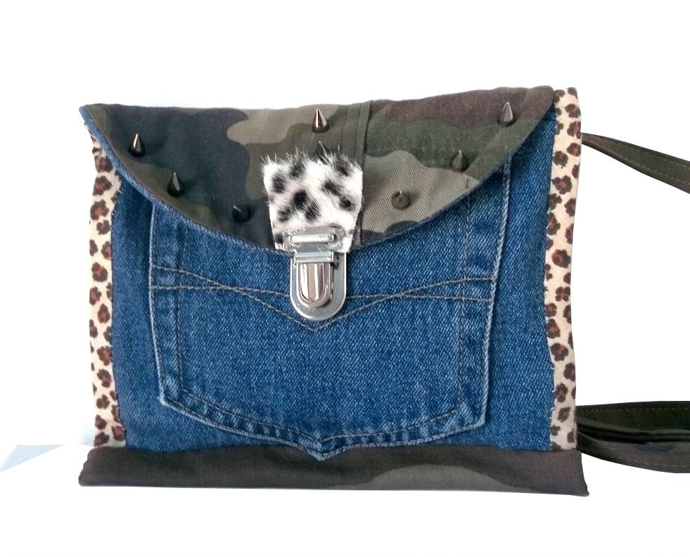 sac portefeuille en jean recycl bandouli re cuir couture pochette ceinture pinterest. Black Bedroom Furniture Sets. Home Design Ideas