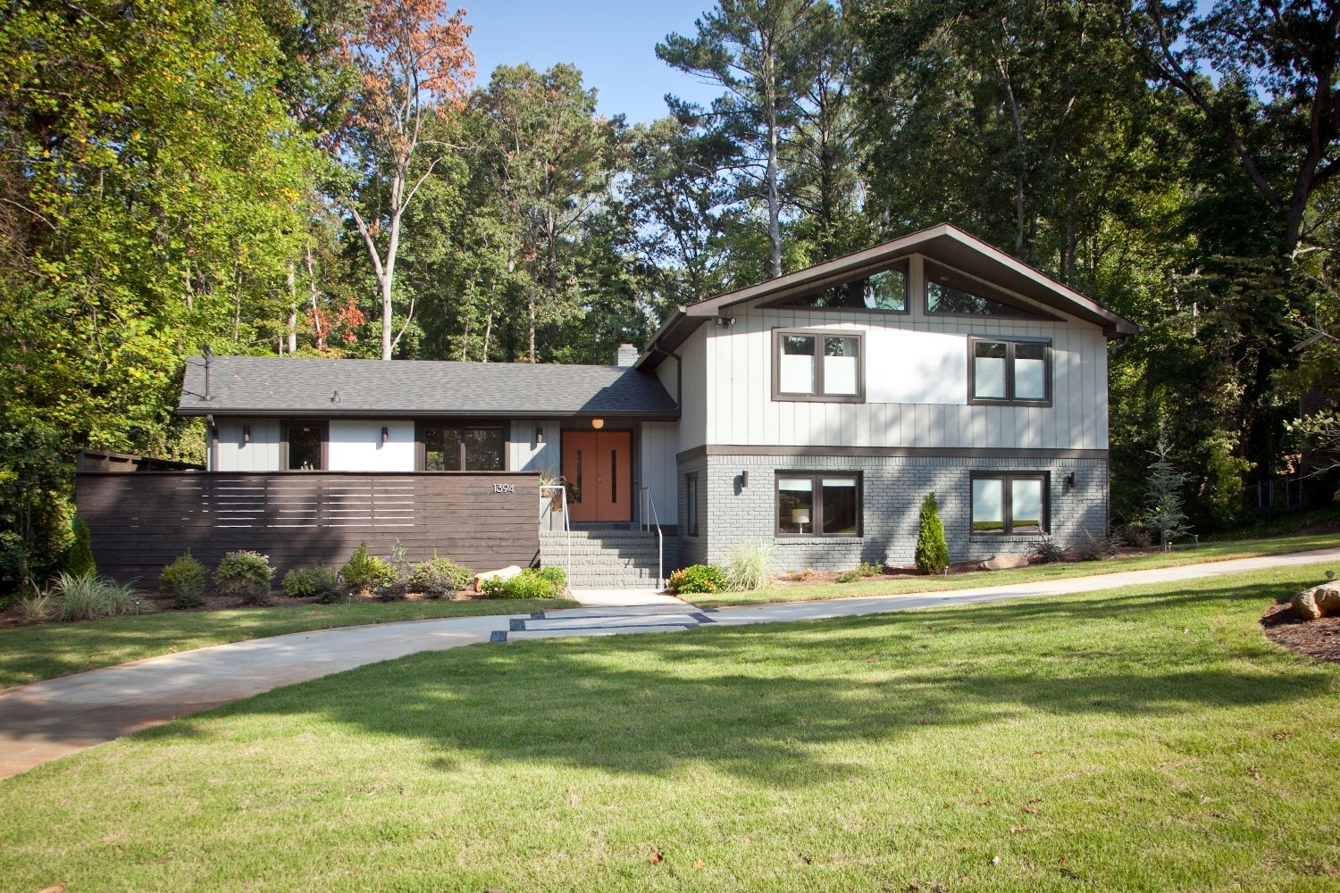 Split level exterior remodel picture gallery 1394 ragley hall road atlanta mid century modern - Exterior home remodel ...