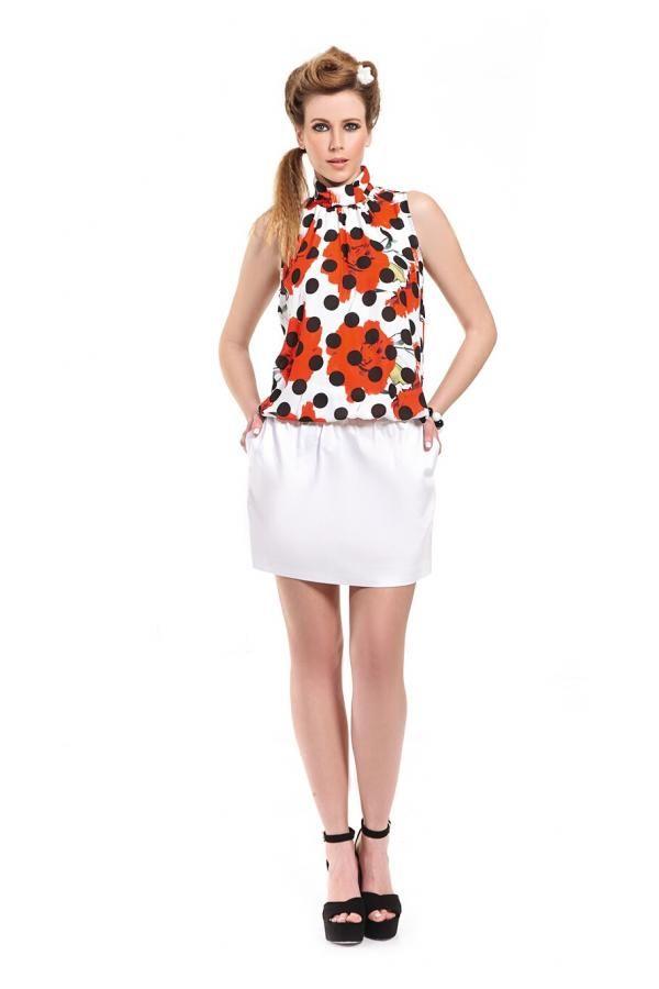 Φούστα καπαρντίνα ελαστική κοντή σε γραμμή Cinderella με μεταλλικό φερμουάρ  πίσω bdc1a29a2a2