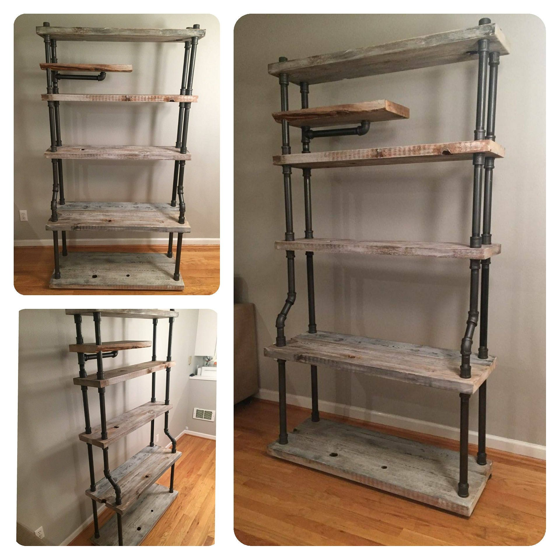 Huge free standing pipe shelves 6 1 2 ft tall industrial style shelving