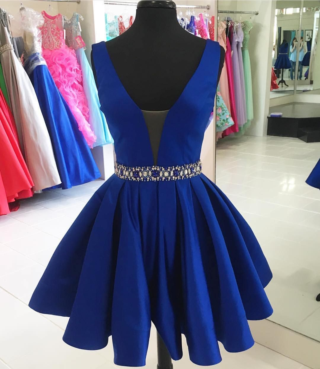 High fashion aline vneck royal blue short homecoming dress with