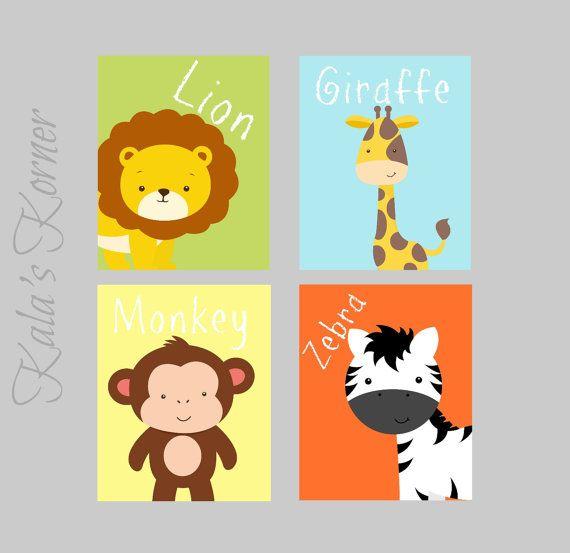 JUNGLE NURSERY ART - Safari Nursery Decor - Boys Nursery Art - 4 ...