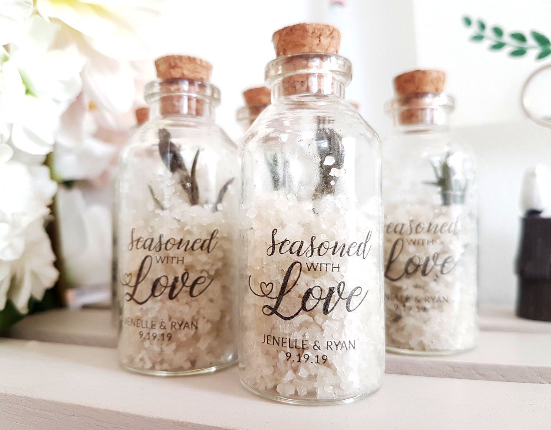 Seasoned With Love Sea Salt Wedding Favors Personalized Wedding Favor Jars Rosemary Sea Wedding Favour Jars Wedding Gifts For Guests Beach Wedding Favors