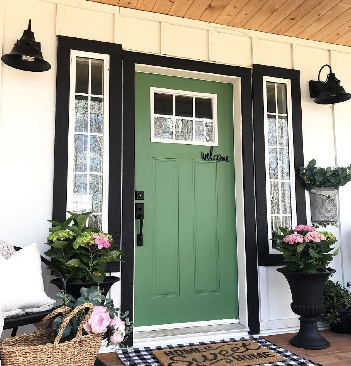 White House Black Trim Green Door