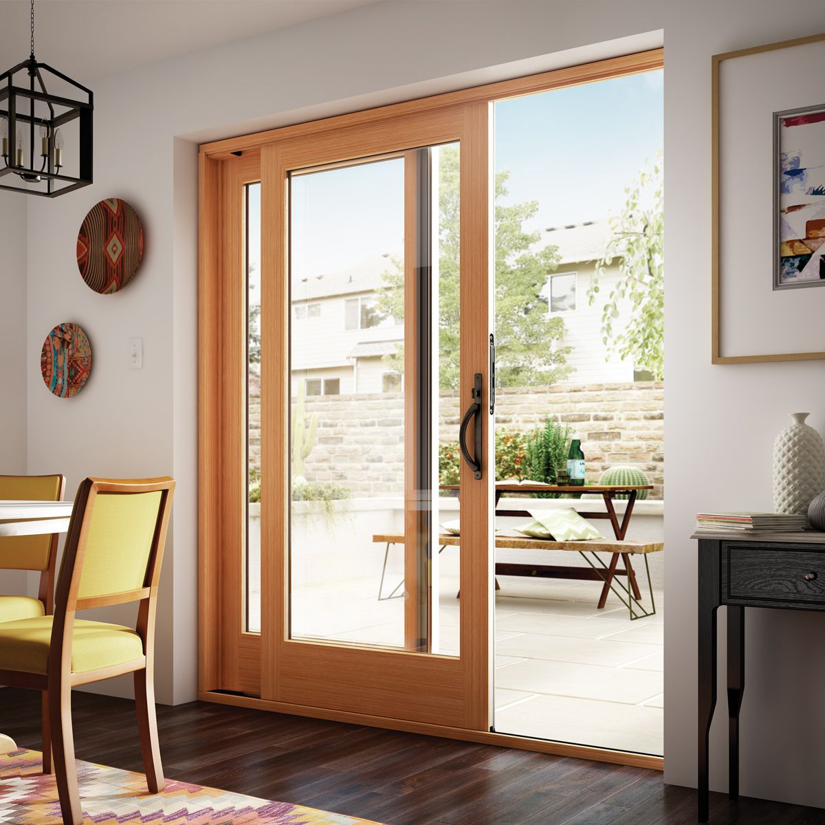 Contemporary Wooden Frame Interior Durable Fiberglass Exterior