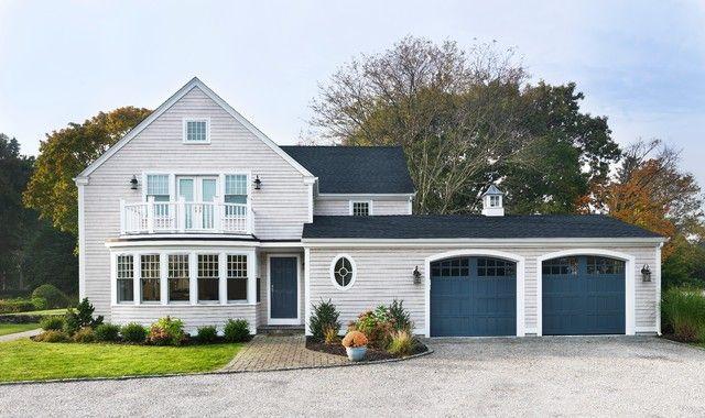Beige White And Navy Exterior House Colors Garage Door Colors Garage Door Paint