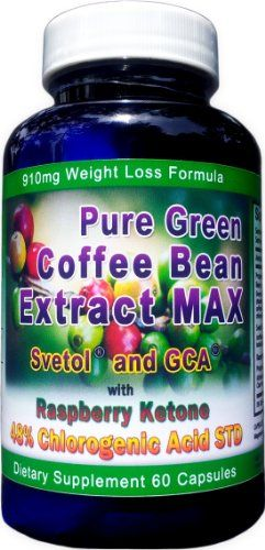 910mg Pure Green Coffee Bean Extract Max Svetol Gca Raspberry Ketones Contains