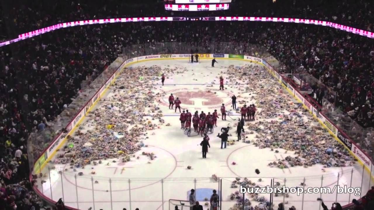 Watch 25 921 Teddy Bears Flying On To The Ice At A Hockey Game Hockey Teddybeartoss Video With Images Hockey Hockey Fans Funny Sports Videos