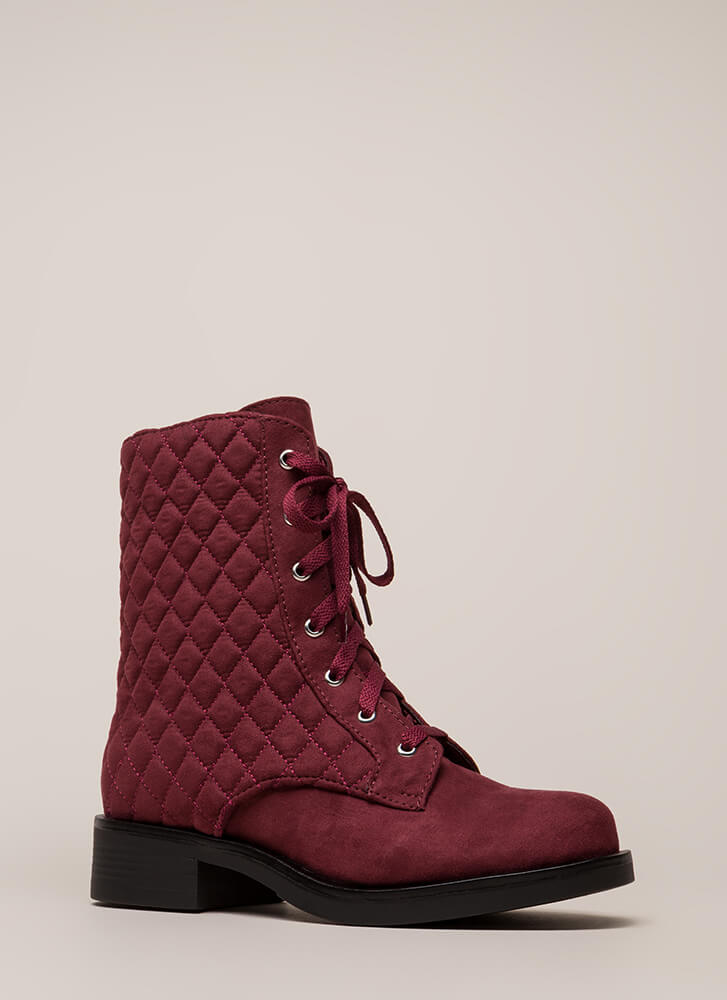 The Stitch-uation Quilted Combat Boots BLACK  BURGUNDY 2