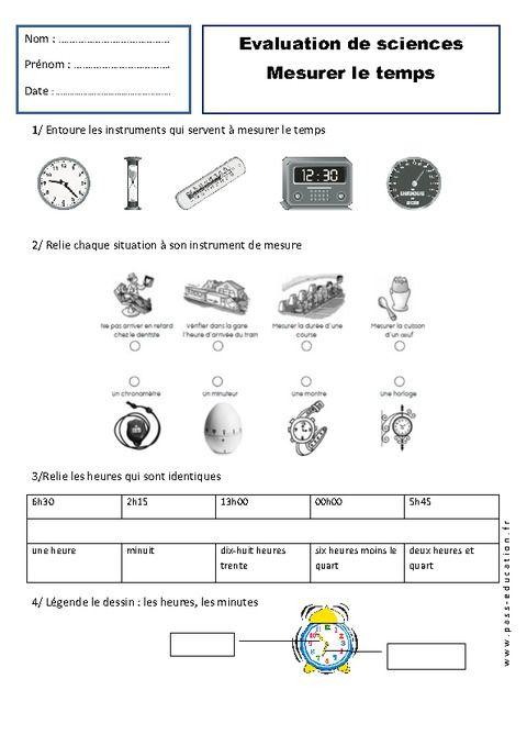 Bien connu img_evaluation-mesurer-le-temps.jpg (480×679)   exercices enfants  HO03