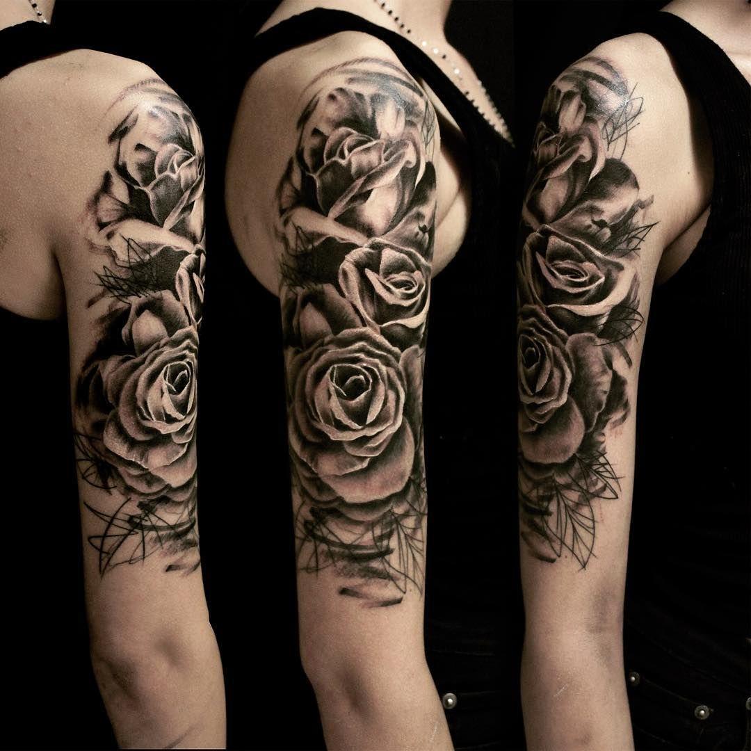 graphic roses on shoulder tattoo rose tattoos shoulder. Black Bedroom Furniture Sets. Home Design Ideas