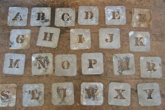 vintage metal letter stencils wool bale zinc alphabet markers rustic industrial decor art craft monogram 389