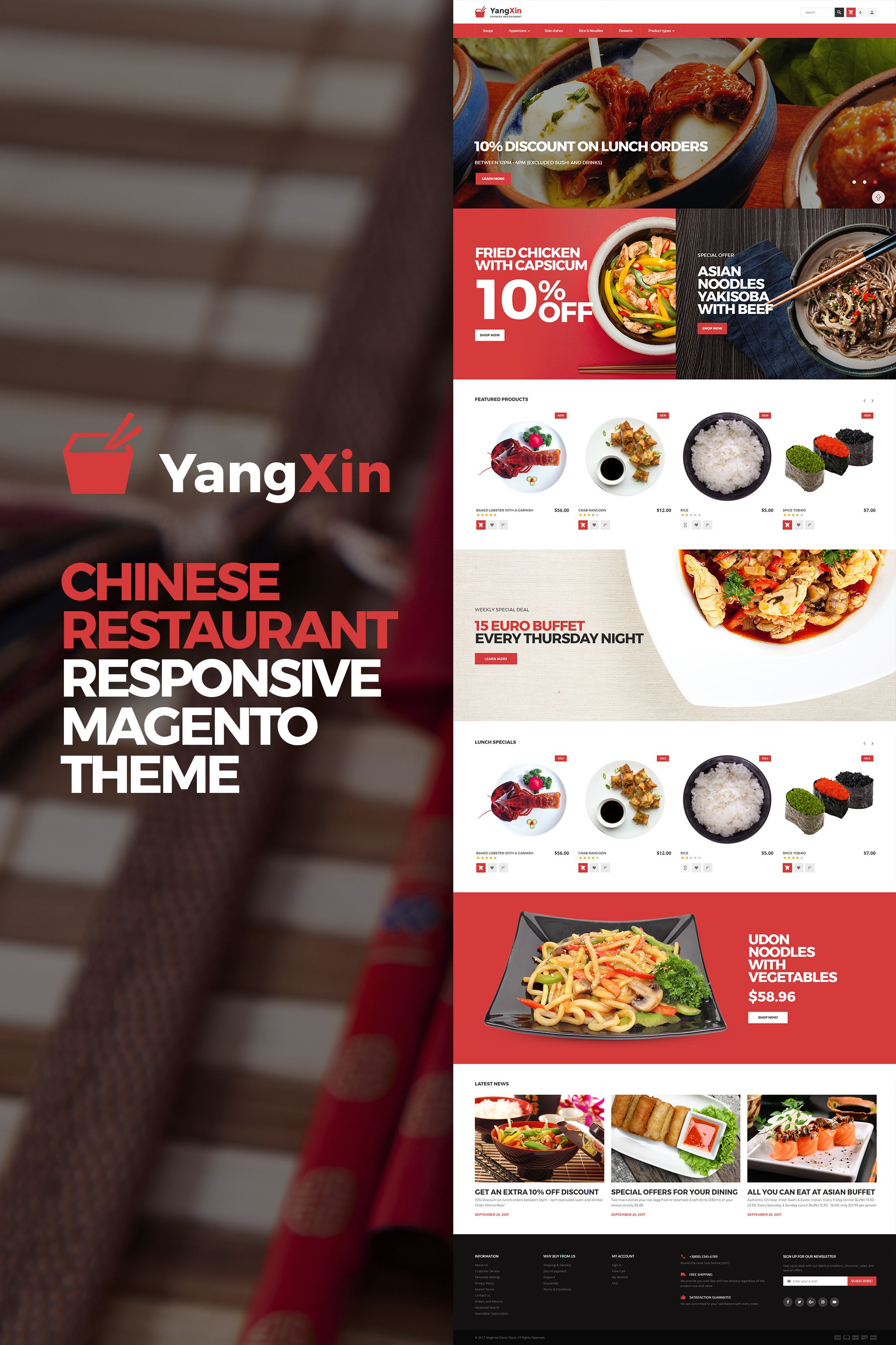 Magento Template Yangxin Chinese Restaurant Magento Themes Chinese Restaurant Food Web Design