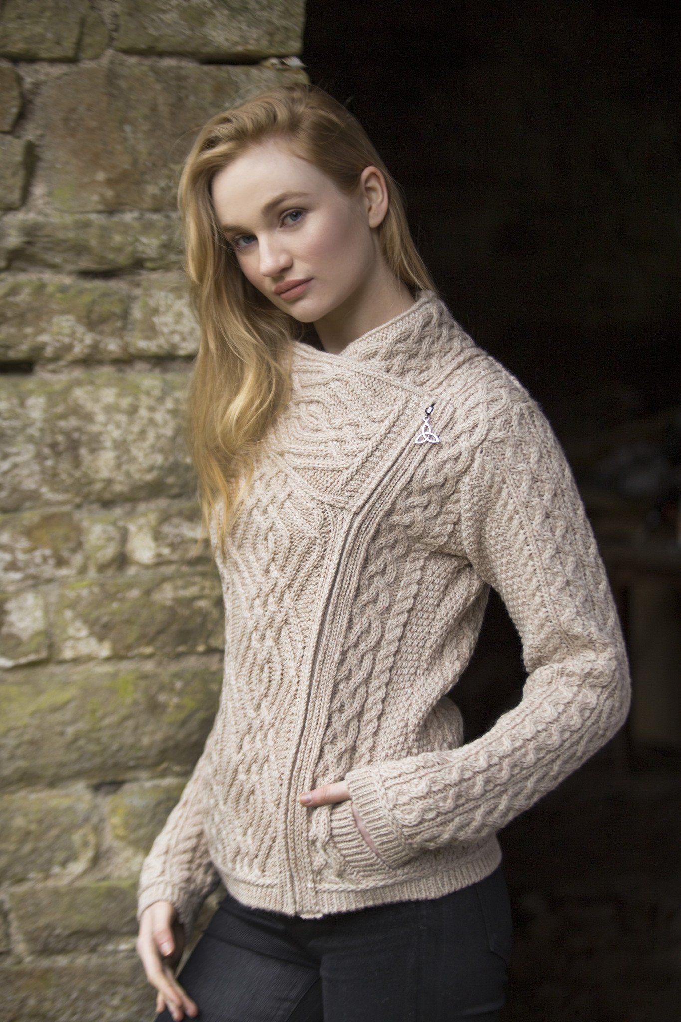 Women's Cable Knit Side Zip Jacket Parsnip | Irish sweater
