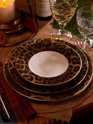 Leopard Print Fine China. Hutchinson Soup Bowl $40; Dinner Plate $50; Dessert Plate $40 Total Set $130 & Ralph Lauren Home. Leopard Print Fine China. Hutchinson Soup Bowl ...