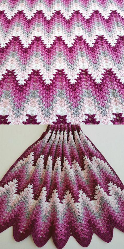 Heartbeat Ripple Blanket Free Crochet Pattern Crocheting Pinterest
