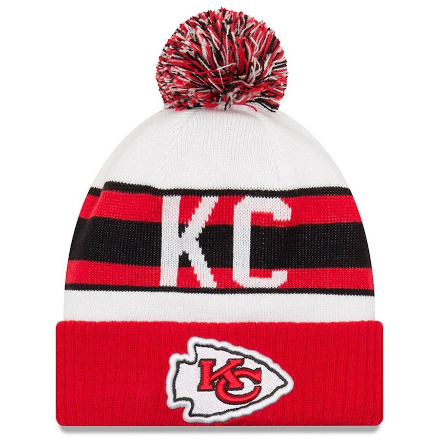 new product 37d7d 3f067 New Era Kansas City Chiefs White Red Retro Cuffed Knit Hat With Pom