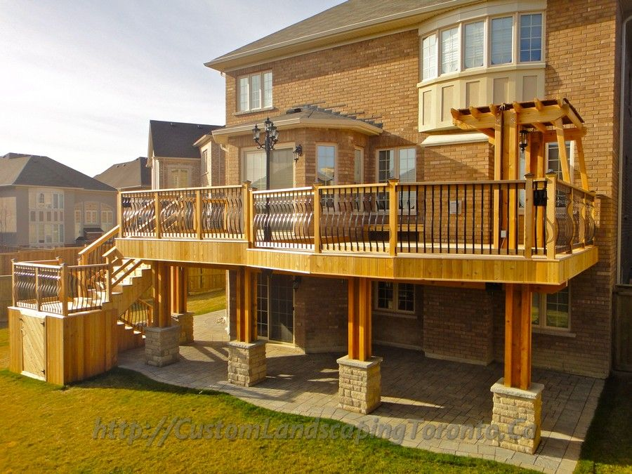 Complete Landscaping Project With Large Deck And Pergola Toronto