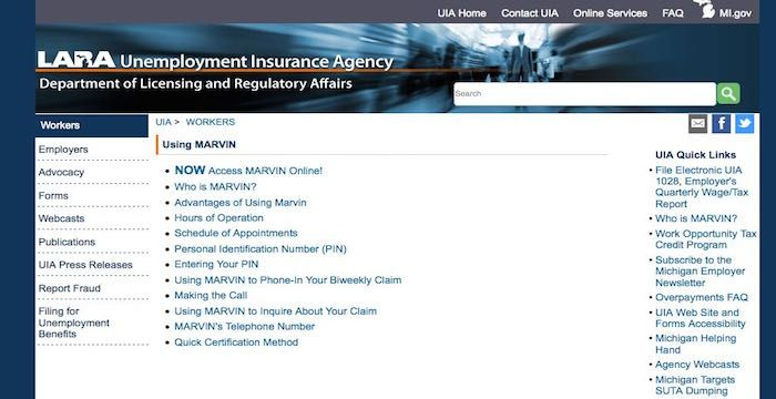 Michigan Gov Unemployment Marvin Regulatory Affairs Interactive Network Signs