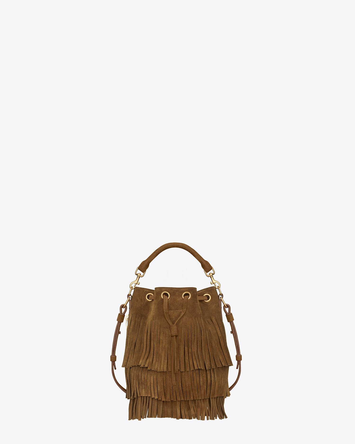 7f4fb780cf Saint Laurent Small Emmanuelle Fringed BUCKET BAG IN Ocher Suede And Leather  | ysl.com