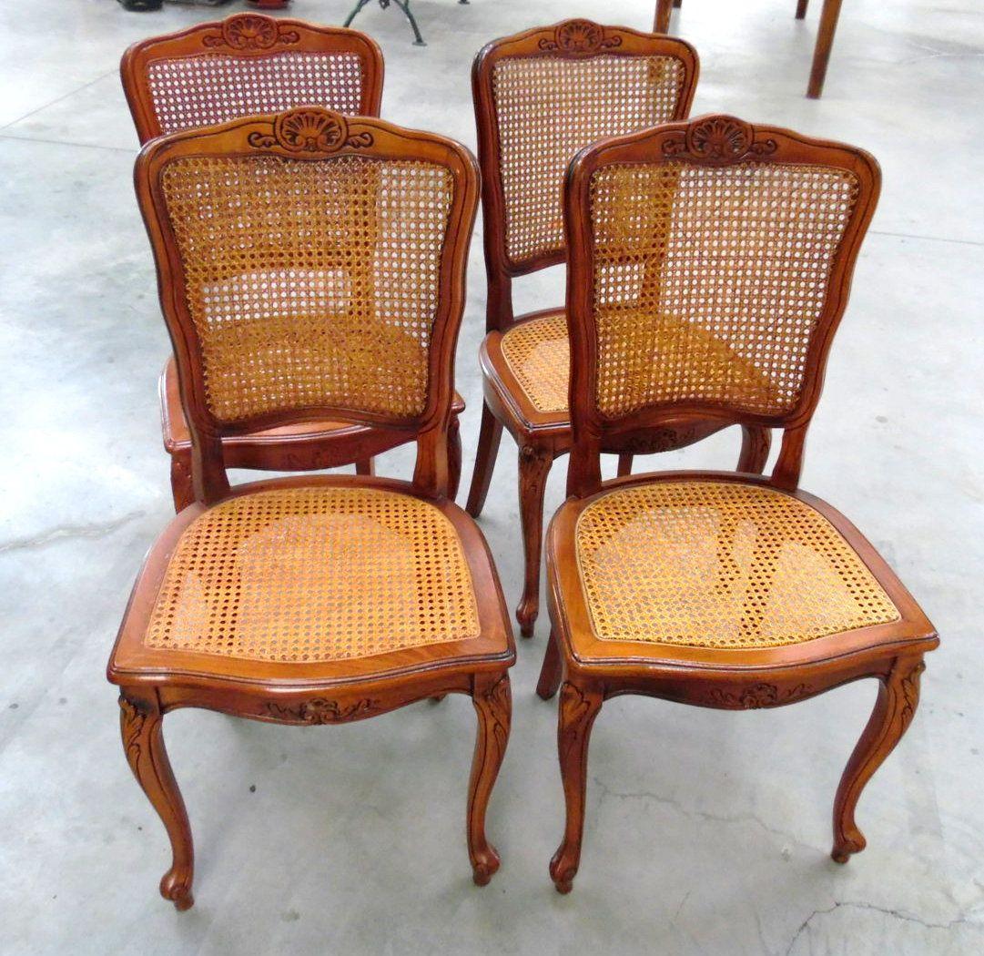 4 sedie in paglia di Vienna provenzali in faggio massello ...