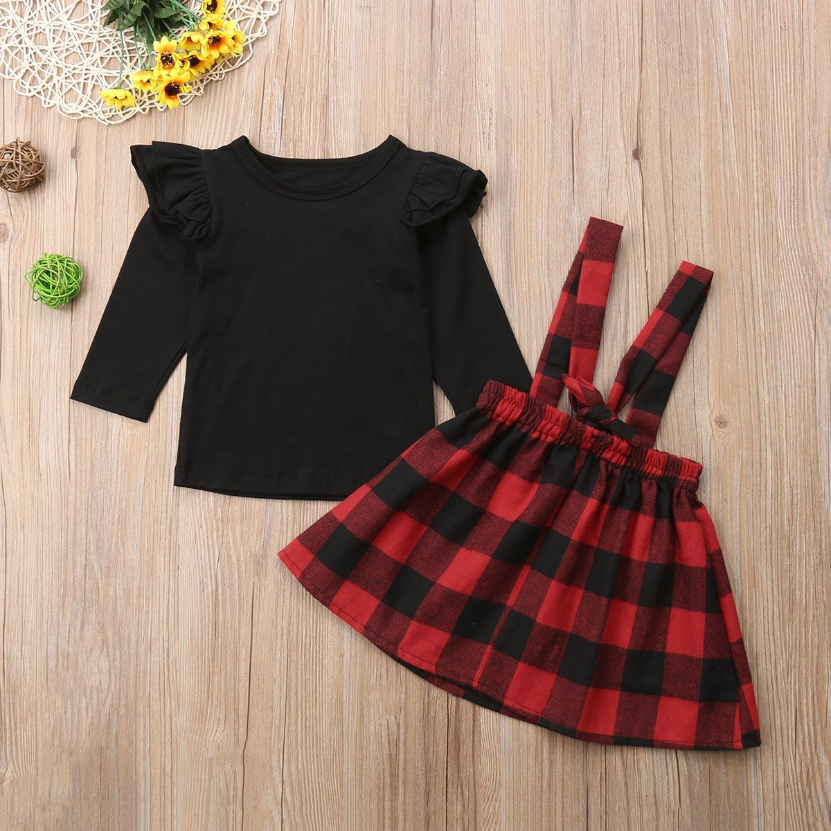 Mud Pie Christmas Red Black Buffalo Check 1 Pc Skirted Crawler Set Shirt