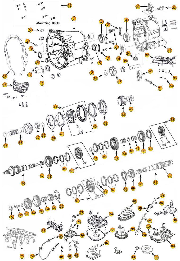 Jeep Wrangler Jk Parts Diagram : wrangler, parts, diagram, Daimler, NSG370, 6-Speed, Transmission, Parts, Wrangler, Doors,, Grand, Cherokee,
