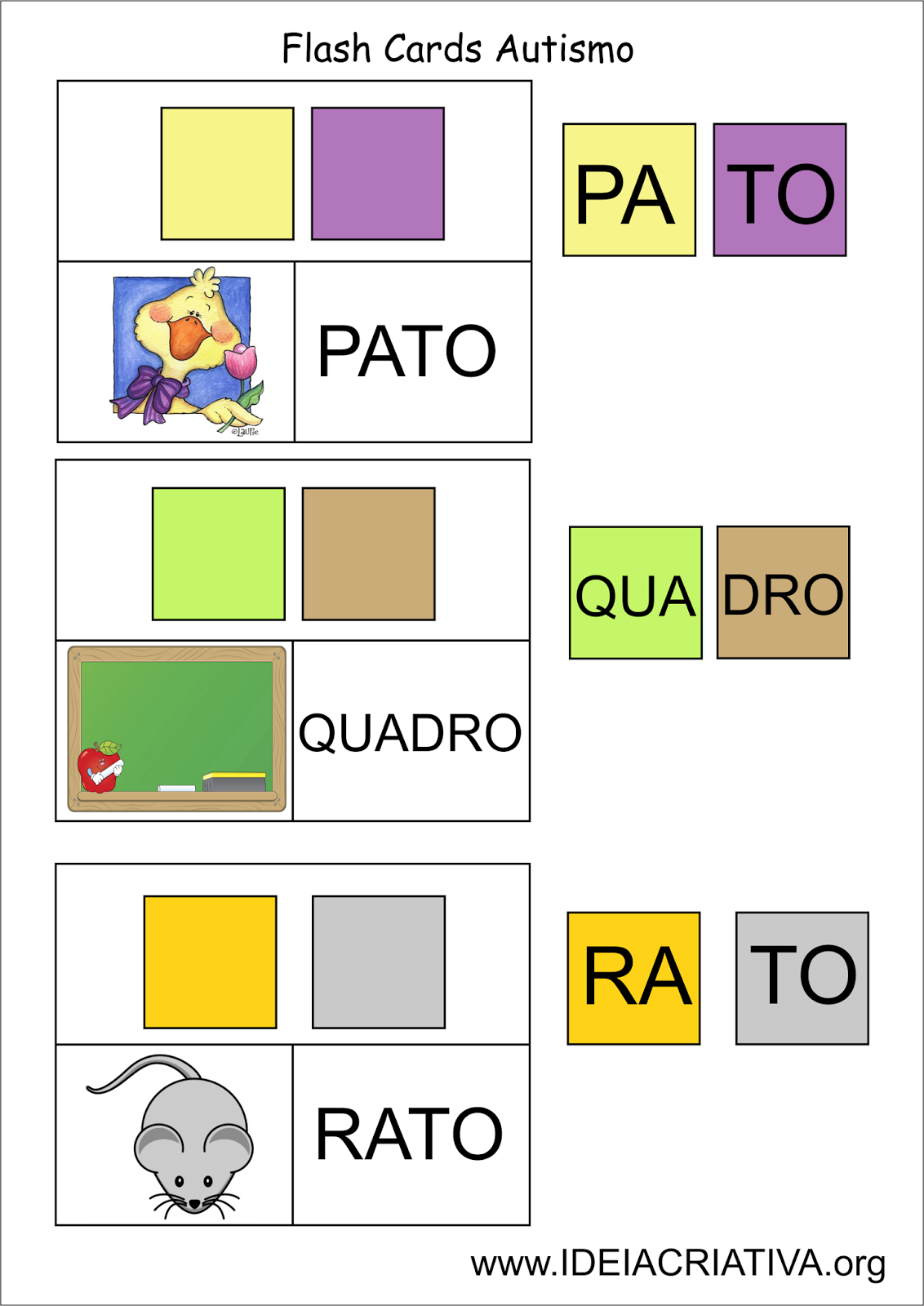 Favoritos Flash Cards Letra Sílaba Autismo | CONSCIÊNCIA FONOLÓGICA  DH37