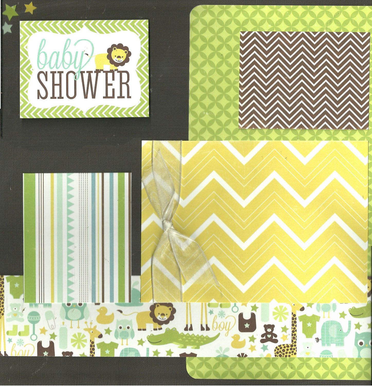 Baby Shower Boy 2 Page Scrapbooking Layout Kit By Cropalattetogo On